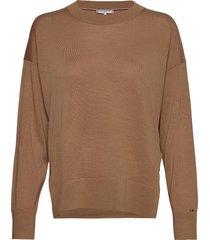 wool silk c-nk sweater ls stickad tröja brun tommy hilfiger