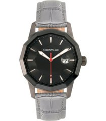morphic m56 series, black case, grey leather band watch w/date, 42mm
