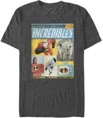 disney pixar men's incredibles comic panel retro vintage short sleeve t-shirt
