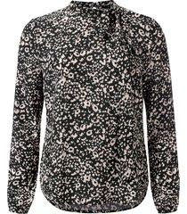 dayz agnes geprinte lange mouw blouse met strik grijs