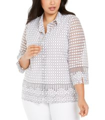 alfred dunner plus size button-front necklace top