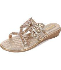 nuevo estilo sandalias antideslizantes mujer-oro
