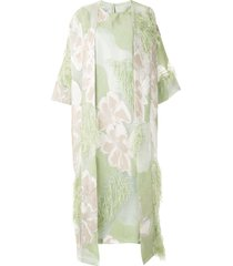 bambah isabella feather trim kaftan dress - green