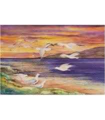 "kathleen parr mckenna seagull sunset beach canvas art - 15"" x 20"""
