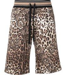 dolce & gabbana leopard-print shorts - brown