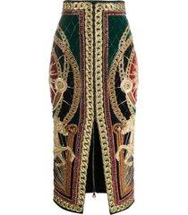 balmain beaded embroidery pencil skirt - green