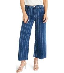 women's etica devon stripe high waist crop wide leg jeans