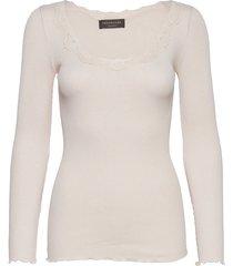 silk t-shirt regular ls w/rev vinta t-shirts & tops long-sleeved crème rosemunde