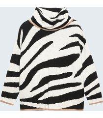 motivi maglia misto lana fantasia zebrata donna bianco