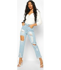 high waist distress mom jeans, light blue
