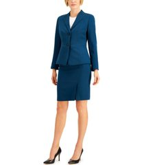 le suit two-button seamed skirt suit
