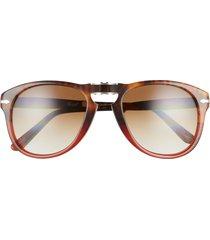 persol 54mm gradient foldable pilot sunglasses - brown tort/ brown gradient