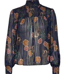 printed top with lurex and smocking details blouse lange mouwen blauw scotch & soda