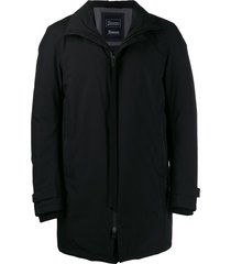 herno padded high collar coat - black
