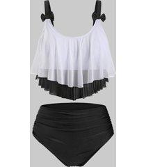 mesh panel flounces bowknot plus size tankini swimwear