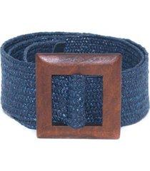 cinturon arpillera hebilla cuadrada azul mailea