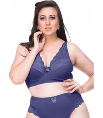 suti㣠sempre sensual lingerie vintage azul - azul - feminino - dafiti