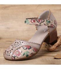 socofy pelle ritaglio goffratura bordi floreali gancio cinturino alla caviglia ad anello d'orsay décolleté sandali con tacco