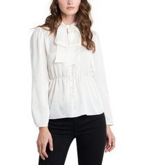 1.state puff-sleeve tie-neck top