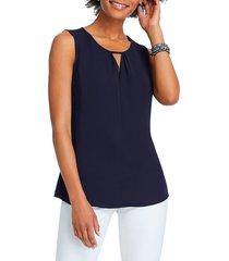 women's nic+zoe easy keyhole tank top, size large - blue