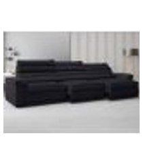 sofá lincoln assento retrátil e reclinável velosuede preto - netsofas
