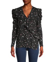 iro women's puffed-sleeve floral-print top - black red - size 36 (4)