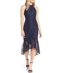 women's forest lily lace halter high/low dress, size 4 - blue