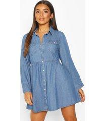 denim blouse jurk met lange mouwen, blue
