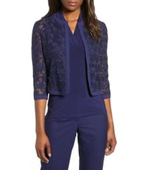 women's anne klein floral lace crop cardigan, size 14 - blue