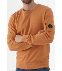 c.p company light fleece crew neck sweatshirt - orange 06cmss047a 002246g