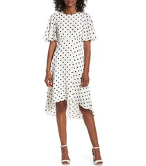 women's eliza j dot high/low fit & flare dress