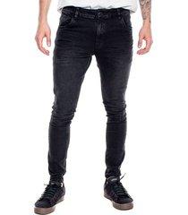 black denim skinny jeans con resaltes de costuras color blue