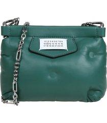 maison margiela clutch glam in green leather