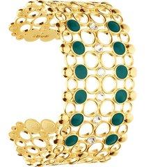 bracciale rigido a fascia larga in ottone dorato con cristalli e smalto verde per donna