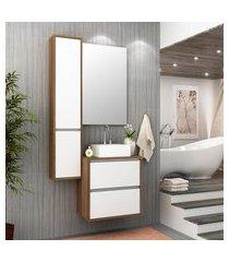 gabinete para banheiro com cuba e espelho firenze bosi nogal/branco