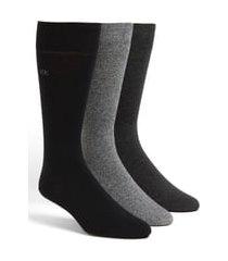 men's calvin klein assorted 3-pack socks, size one size - black