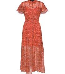esi crinkle 2 midi tea dress jurk knielengte oranje french connection