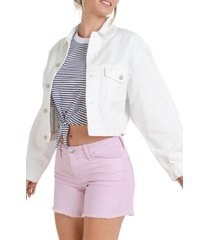 women's l.t.j oversize crop denim jacket, size large - white