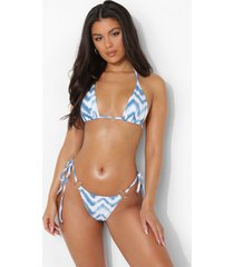 driehoekige chevron bikini top met o-ring, blue