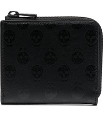alexander mcqueen monogram-print zip-up wallet - black
