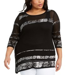 belldini plus size striped asymmetrical-hem sweater