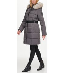 dkny belted faux-fur-trim hooded puffer coat