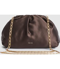 reiss ellena - satin pouch clutch in brown, womens