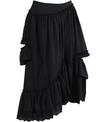 black asymmetric frill ruffled skirt