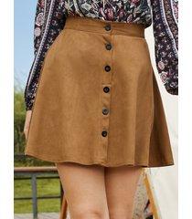 minifalda delantera con botones marrón de yoins