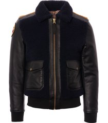 schott nyc limited edition lmanj2 aviator jacket - navy, black & ochre lmanj2