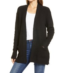women's caslon open front cardigan sweater, size small - black