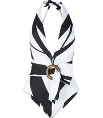 germain swimsuit in black/white stripes