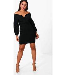 bodycon wikkel jurk met open schouders, black