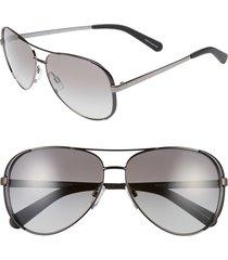michael kors collection 59mm aviator sunglasses in gunmetal/black/grey gradient at nordstrom
